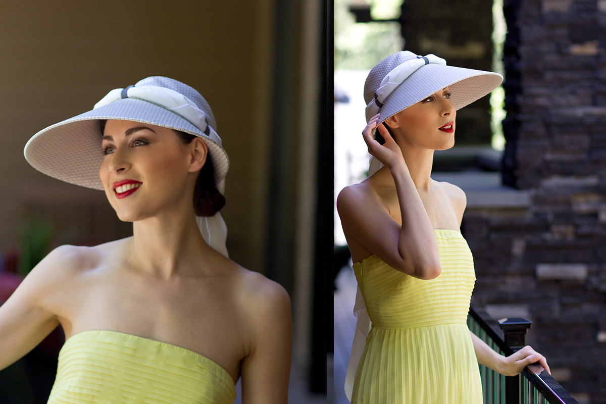 yellow-dress-with white hat
